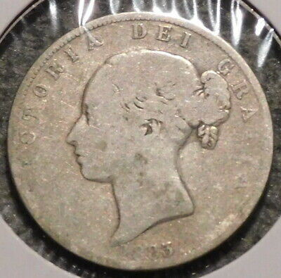 British Silver Half Crown - 1883 - Overstock Sale! - $1 Unlimited Shipping -043