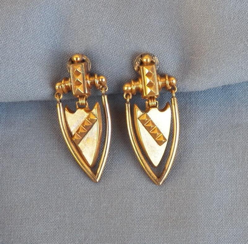 Vintage Antique Gold Filled Door Knocker Earrings Non Pierced