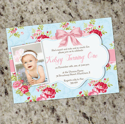 Sweet Shabby Chic - Party Invitation - 1st Birthday or baby Shower