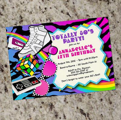 Totally 80s! - 1980s Themed Birthday Invitations - Colorful  (80s Birthday Invitations)