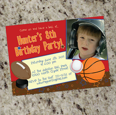 All Star Sports Party - Sports Themed Birthday Party Invitations - Any Sport - All Star Birthday Invitations