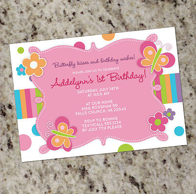 Butterfly Kisses - Girly Birthday Invitations - with or without a photo](Butterfly Birthday Invitations)