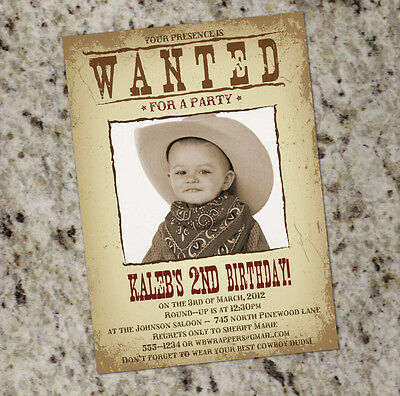 Wanted Poster Western Theme Birthday Party Invitations - FREE - Western Theme Invitation