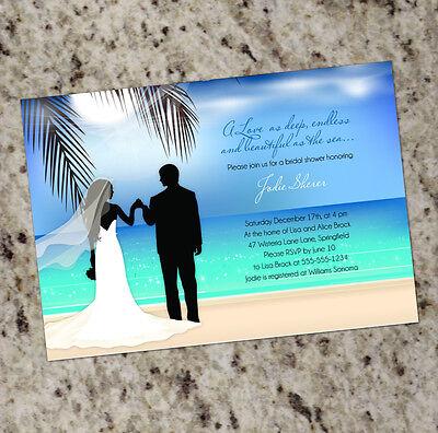 Couples Wedding Shower Invitations (Beachy Couple - Destination Bridal Shower Invitations FREE)