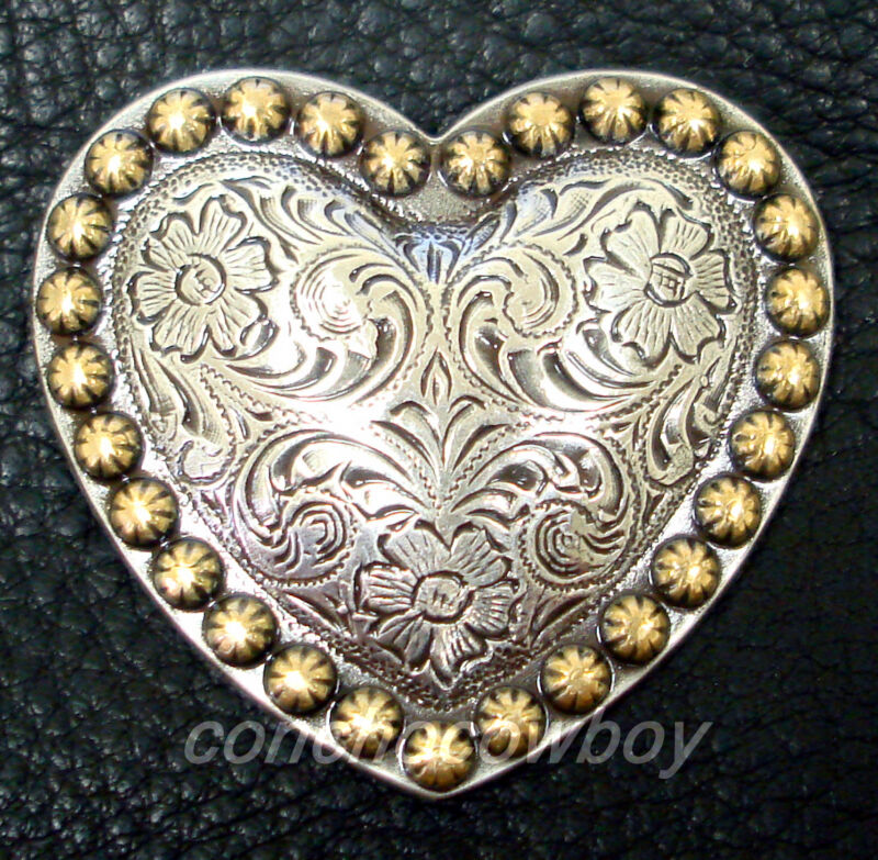 WESTERN HORSE HEADSTALL TACK ANTIQUE HEART GOLD BERRY SADDLE CONCHOS 1-1/2""