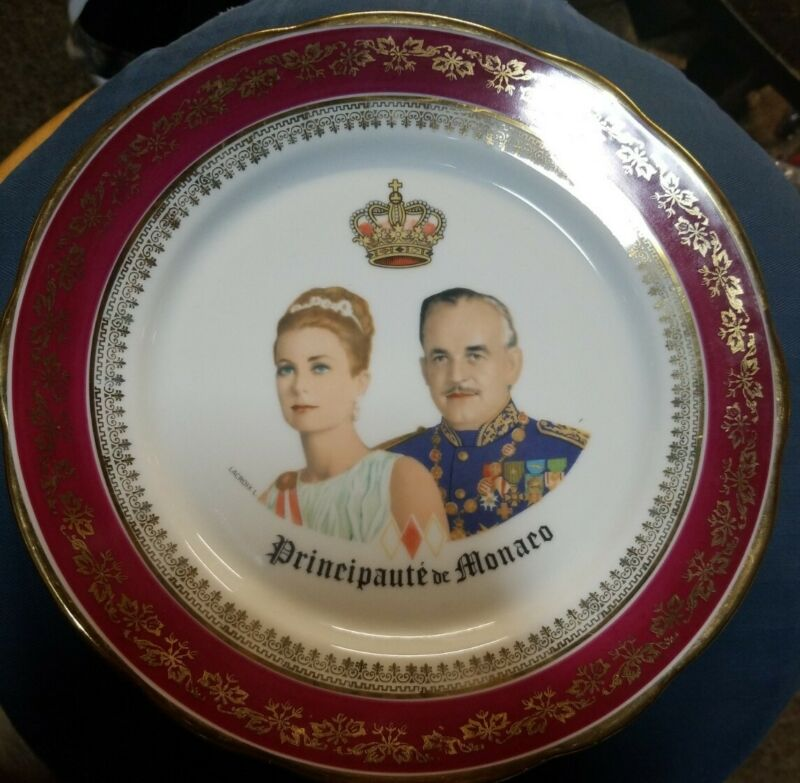 VINTAGE PORCELAIN PLATE PRINCE RAINIER & PRINCESS/ACTRESS GRACE KELLY MONACO