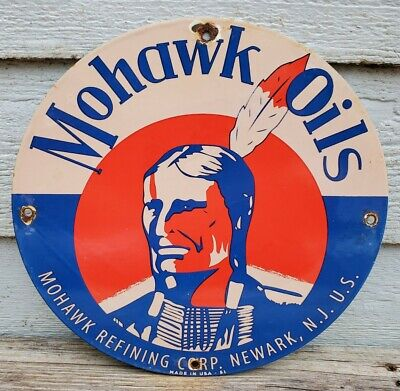 OLD 1951 VINTAGE MOHAWK OILS PORCELAIN ENAMEL GAS PUMP SIGN NEWARK, N.J. USA
