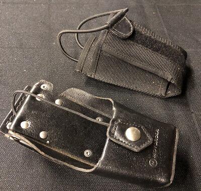 Motorola Carry Case Ntn8380c Leather Holster Radio Plus Soft Holster Lot