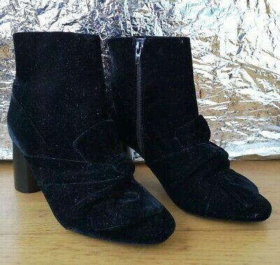Halloween Toes Designs (ZARA TRAFALUC Ankle Boots EU38 UK5 black round toe bow block heel zipper)