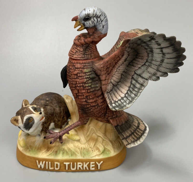 Wild Turkey and Raccoon #5 1984 Limited Edition Porcelain Decanter- NEEDS CORK