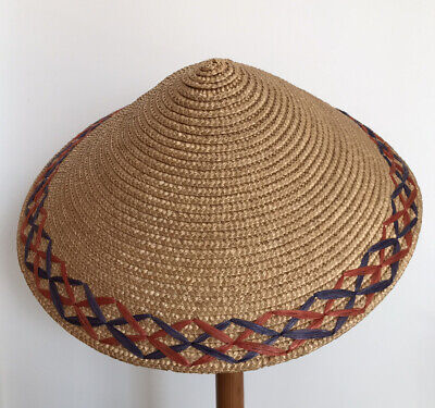 Vintage Straw Conical Sun Hat with Rafia Trim