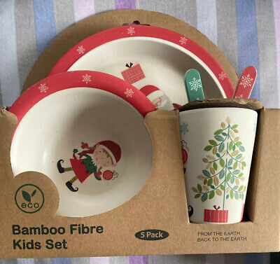 Eco Bamboo Fibre Kids Dinnerware 5pc Set Christmas theme NIB ()