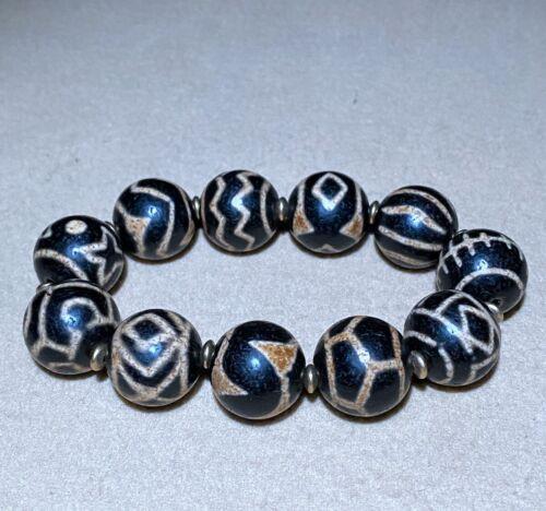 Tibet : Very Old Agate DZI GZI Bead /amulet Bracelet 藏传多宝天珠手链