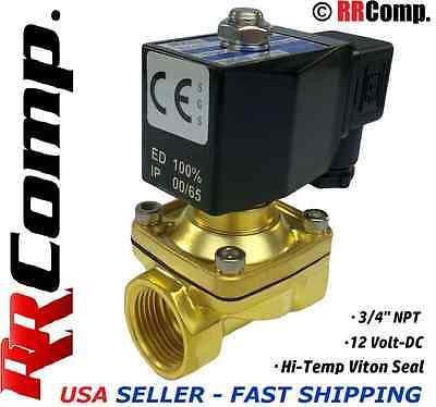 34 Npt 12-volt Dc Brass Electric Solenoid Valve Seal Viton Airwateroil Nc