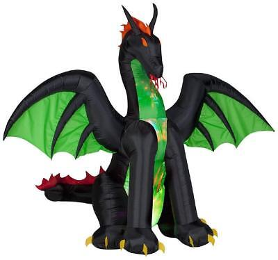 Halloween Air Blown Inflatable Black Dragon w/Kaleidoscope Green Chest&Wings 6'  - Halloween Inflatables Dragon