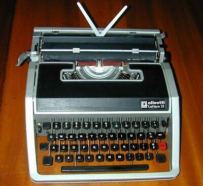 Olivetti Lettera 33 Typewriter w Case & Manual/Warranty/ Brush