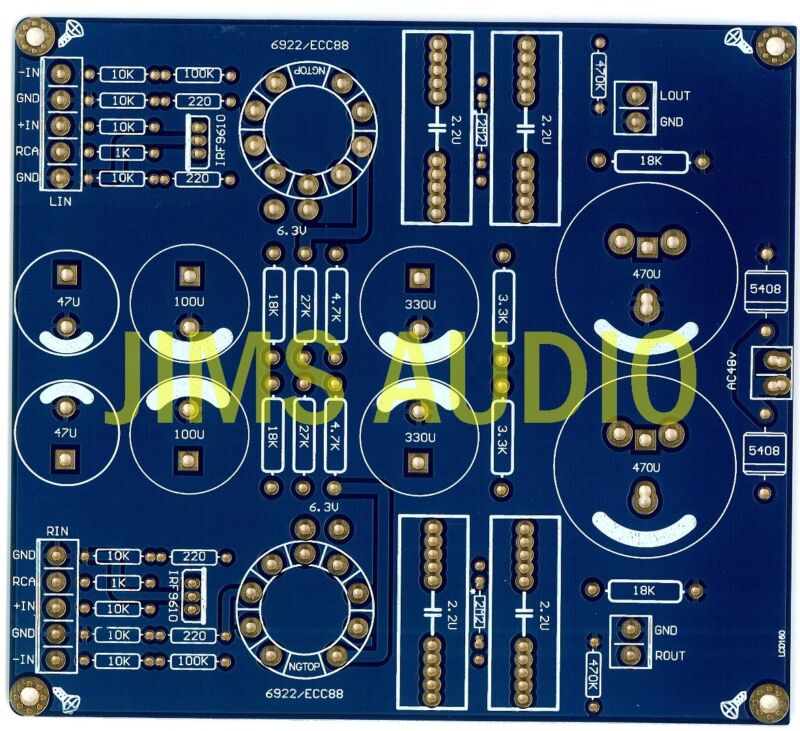 Bal/unbal input tube preamplifier stereo PCB !