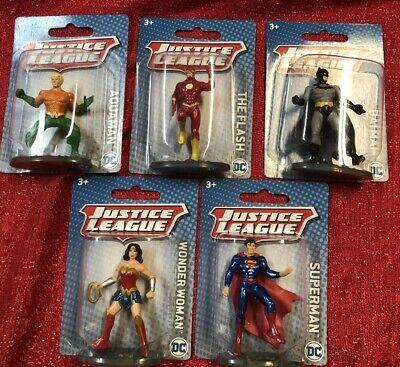 """5 DC Comics Justice League 2.5"""" Super Hero Figures Flash Batman Superman Aquaman"""