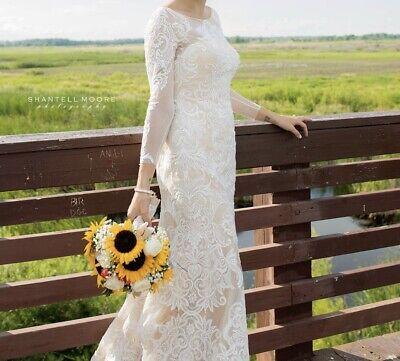 Oleg cassini wedding long dress long sleeve size 10