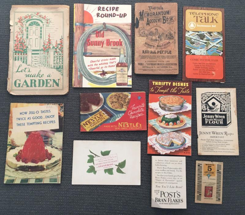 Vntg Kitchen Recipe Booklets, Advertisments Jello Bran Flakes Nestle Jenny Wren