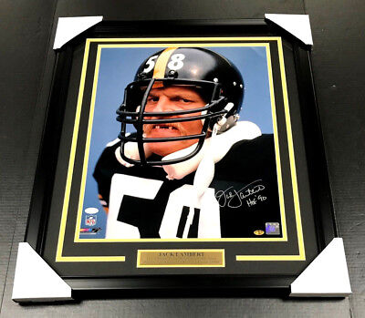 (JACK LAMBERT SIGNED AUTOGRAPHED FRAMED 16X20 PHOTO JSA COA PITTSBURGH STEELERS )