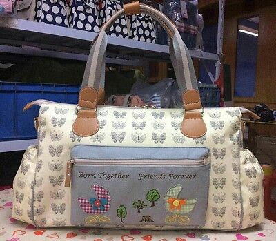 New Grey Butterfly Twins Baby Changing Bag /Double Size Bag .
