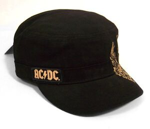 AC-DC-ANGUS-WINGED-GUITAR-BLACK-MILITARY-CADET-HAT-CAP-NEW-ONE-SIZE
