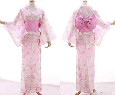 K-015 weiß rosa Crysanthemen Blumen ORIGINAL Japan Kimono YUKATA OBI Gürtel