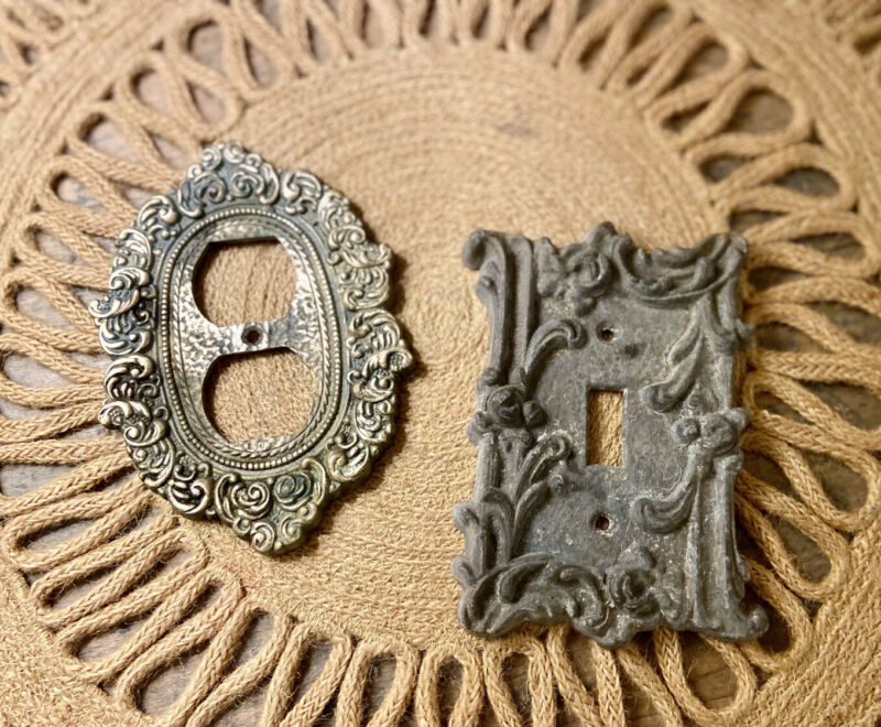 2 Vintage Brass Metal Light Switch Covers Scroll Floral Deco