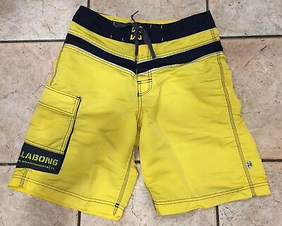 Billabong Boardshorts Nylon (Vintage Yellow Billabong Nylon Made USA Surf Board Shorts w/ Wax Comb Surfing 30)