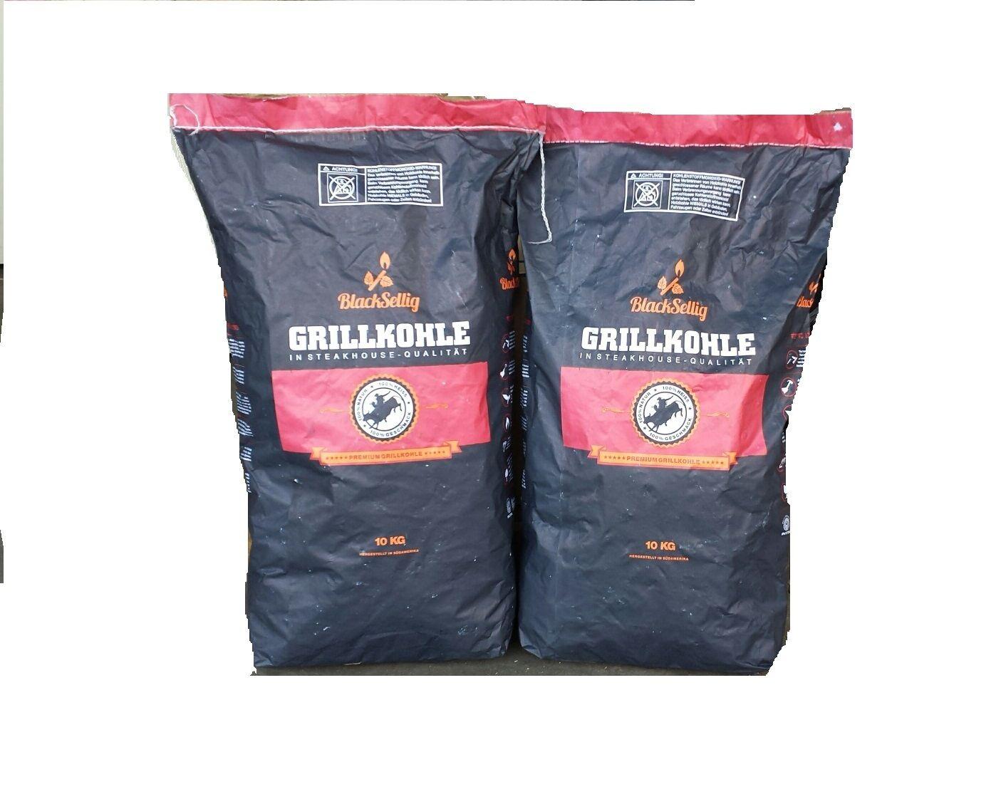 (1,75€/kg) 20 Kg Steakhousekohle Holzkohle Grillkohle von BlackSellig Premium