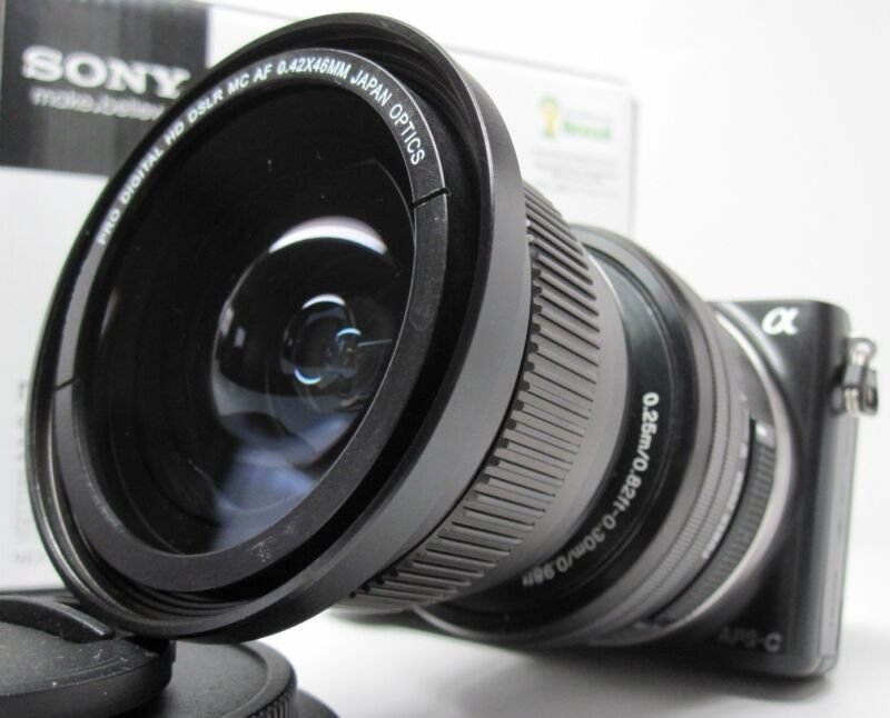 Ultra Wide Angle Macro Fisheye lens for Sony Nex 6 3n 5t 3 5 7 HD w/16-50 16mm