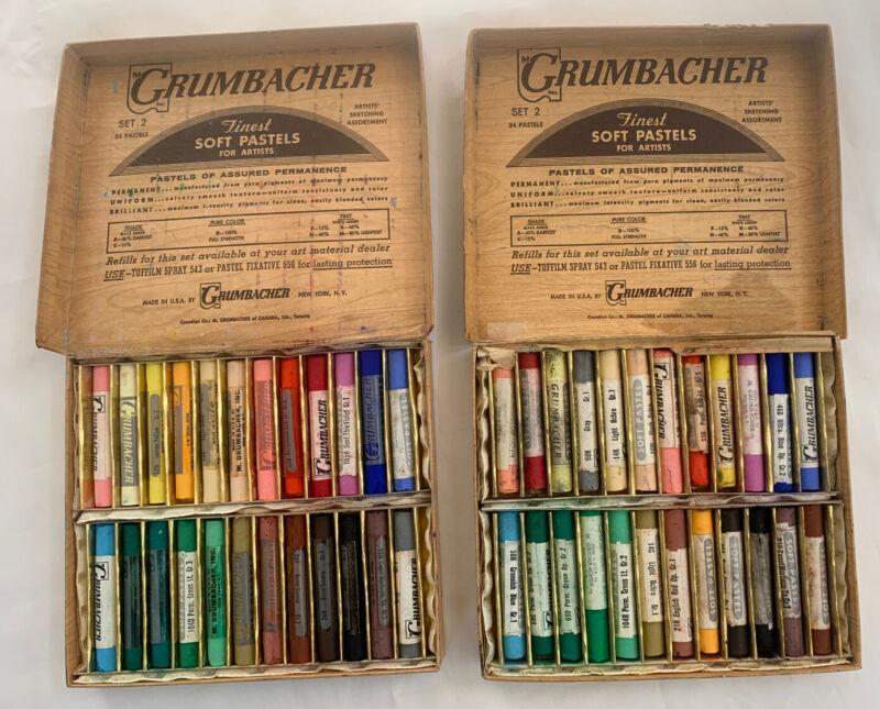 Two Complete sets Vintage Grumbacher 24 Assorted Soft Pastels Set No. 2