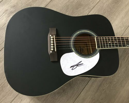 """CHASE RICE SIGNED AUTOGRAPH BLACK 41"""" FULL SIZE ACOUSTIC GUITAR w/EXACT PROOF"""