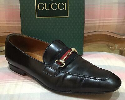 GUCCI Men Vintage Signature Black Loafers 43.5/9.5 US