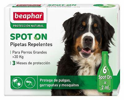 Pipetas Repelentes Perros Grandes (+30 kg) Anti Pulgas, Garrapatas y Mosquitos