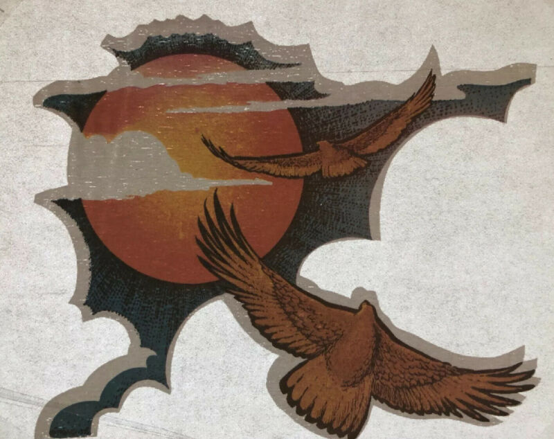 "Vtg Iron On Transfer Roach 1974 Eagle Flying Sunset Retro Graphic 4.5 X 5.25"""