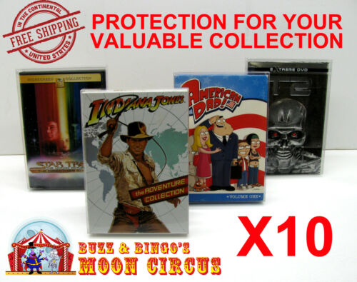 10x DVD MOVIE - OVERSIZED A - CLEAR PROTECTIVE BOX PROTECTOR CASE SLEEVE