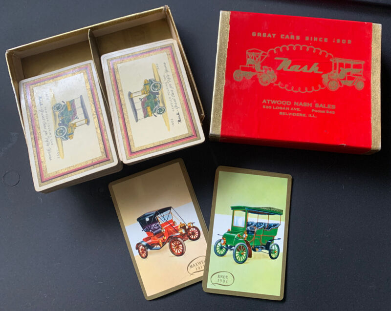 RARE 1950s Automobile Playing Cards RAMBLER TOURING CAR ATWOOD NASH SALES IL