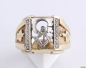 Vintage-Masonic-Master-Mason-Blue-Lodge-Ring-14k-Yellow-White-Gold