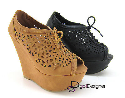 Women's Fashion Shoes Ankle Boots Lace Up Wedges Party Peep-