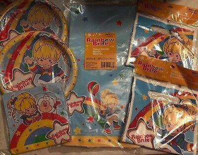 Rainbow Brite Birthday Party Supplies Plates Bags Table Cover Napkins Bright](Rainbow Birthday Plates)