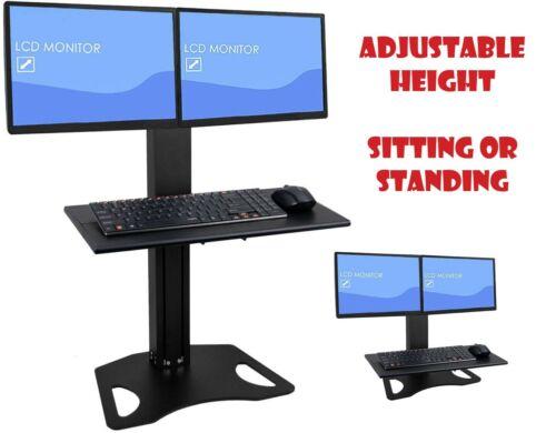Dual Monitor Manual Height Adjustable Sitting Standing Desk Converter Mount