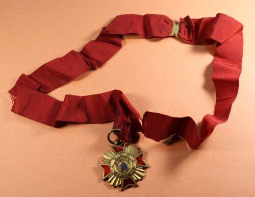 Demolay Medallion Red Ribbon Enamal Officers Cross 1920s FOB