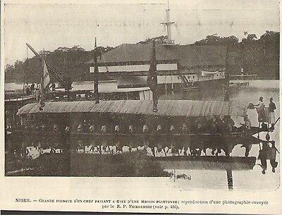 Haut-niger mali grande pirogue du chef maison flottante image 1901