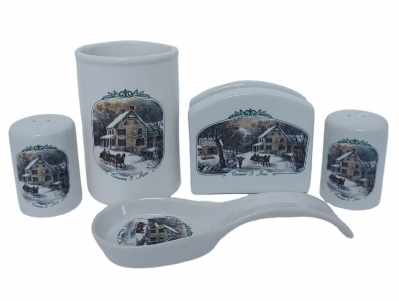 2001 Currier & Ives Collection Of The Museum Of The City Of New York 5 Piece Set