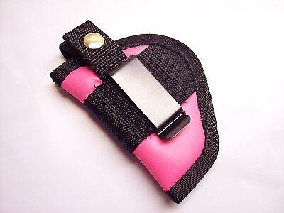 Pink Faux Leather In The Pants / Belt Holster For Davis Derringer 2.4 Barrel