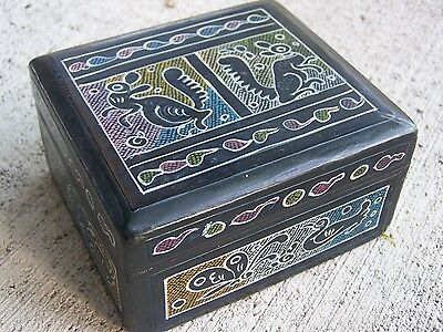 Delicately Painted Black Wooden Jewelry Box with Squirrels - Patzcuaro, Mexico