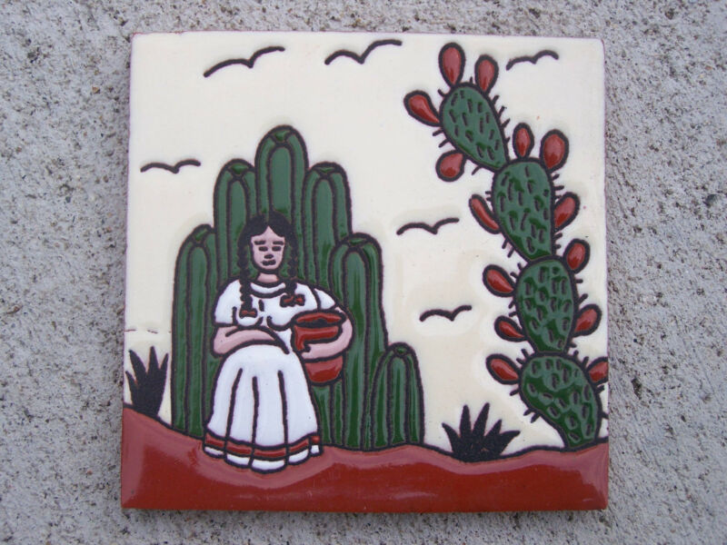 Handpainted Tile - Mexican Woman with Cactus - Mexico