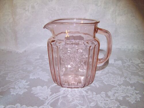 "Cabbage Rose Pink Depression Glass 5 3/4"" 32 Oz. PITCHER Very GOOD Condition"